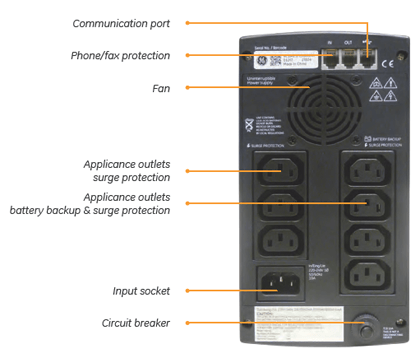 VCL 800VA UPS Rear Panel